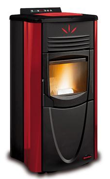 NORDICA-EXTRAFLAME GRAZIOSA STEEL 2,7-7 kW Revestimiento en acero barnizado y cobertura en mayólica. Hogar en fundición extraíble. Cajón extraíble para la ceniza. Vitro cerámico resistente  Colores: Pergamino, negro antracita y burdeos.